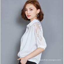 Fashion Chiffon Ladies Blouse with Lace Sleeve
