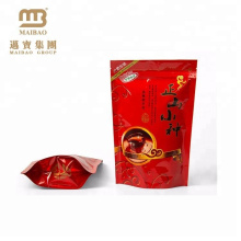 Moisture Proof Custom Logo Red Color Printing Resealable Plastic Pe Zipper Compound Bag For Tea Packing