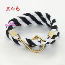Wholesale Fashion Stainless Steel Fish Hook Accessories with Anchor Jewelry Nautical Cotton Rope Bracelet Men