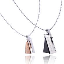 Oro rosa negro de titanio de oro LOVE U Rectángulo para amantes Collar de pareja de cristal