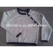 Großhandel 91 Lager Farben Rundhals gestreift Baby reine Kaschmir-Pullover