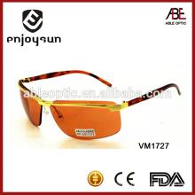 Lunettes de soleil en métal sans bordures orange sexy avec UV400