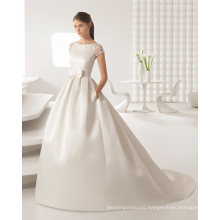 Elegant Satin Beaded Lace Evening Dresses Bridal Wedding Gown (RS013)