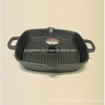 Preseaseond Cast Iron Grill Pan with Cover