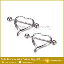 Coração vazado aço cirúrgico da mama mamilo Barbell anéis jóia Piercing do corpo
