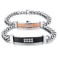 2015 nouveau style rétro, zircon, couple, titane, acier, bracelet, GS717