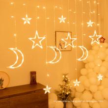 Moon Star LED Fairy Lights String Christmas New Year Curtain Lamp Eid Mubarak Party Decoration For Home Bedroom Ramadan Kareem