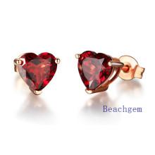 Jewellery-Natural Garnet Sterling Silver Earrings