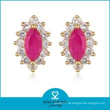 Elegantes Rubin-Silber-Ohrring-Schmuck mit kundenspezifischem Entwurf (J-0043-E)