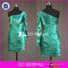 ED Bridal Real Sample One Shoulder One Sleeve Cheap Taffeta Short Sheath Cocktail Dress 2017