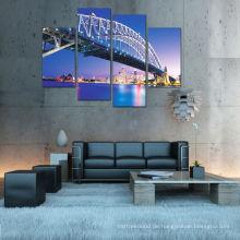 Modern Night Bridge Cityscape Beleuchtete Leinwand Kunst für Dekoration 2015