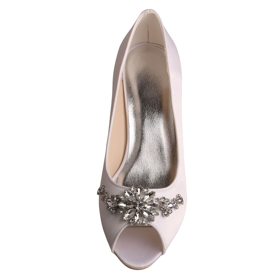 Bridal Heels With Crystal Brooch