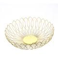 Fashion Design Gold Round Metal Wire Kitchen Fresh Fruit Basket Vegetable Storage Bowl Basket