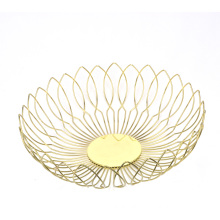 Fashion Design Gold Round Metal Wire Kitchen Fresh Fruit Basket Vegetable Storage Bowl Basket