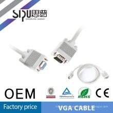 SIPUO estándar 15 Pin macho a hembra VGA Copmuter especificación del Cable