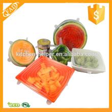 Cubiertas de silicona de tamaño múltiple 6 tapas de comida y cuenco