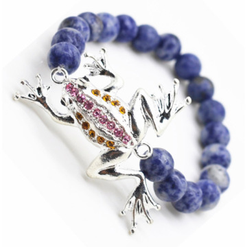 Sodalite Gemstone Bracelet with Diamante alloy frog Piece