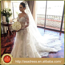 AWD-12 High Quality Hand Made Lace Appliqued Beading Wedding Gown Long Sleeve Cathedral Train Luxury Wedding Dresses