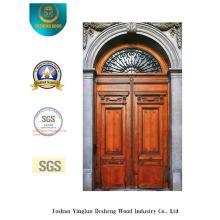 Puerta de acero de seguridad estilo europeo con talla y vidrio (m2-1003)
