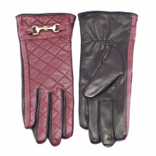 Леди проверено шаблон овчины кожаные перчатки для вождения (YKY5212-1)