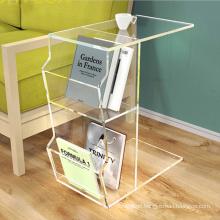 "Shenzhen factory customized ""C"" shape  Clear Acrylic Table With Book Magazine Storage Box"