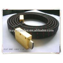 Плоский кабель HDMI 1.4v 1080p Ethernet 3D с нейлоновой сеткой