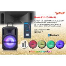 "Plastic Shell 12"" Portable Trolley Speaker with USB SD FM Remote Bluetooth F12-1"