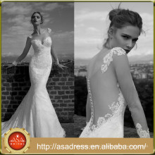 AR09 Glamorous Long Sleeves Long Train Lace Appliques See Through Mermaid Wedding Dress