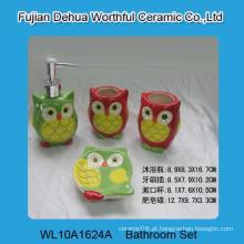 Alta qualidade 4 pcs cerâmica coruja banho acessório conjunto