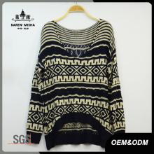 Women Vintage V-Neck Curve Hem Sweater