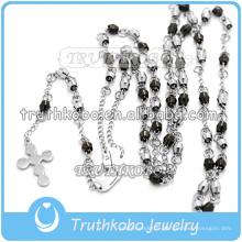 Acier inoxydable 316 Style Fashion Noir et Argent Couleur Perles Chapelet Collier Jewlery