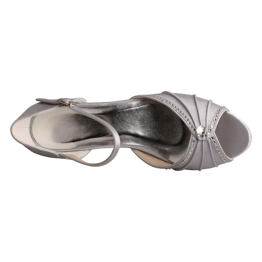 Evening Shoes Low Heel Sandals Silver
