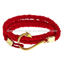 Wholesale Fashion China Red Flag Rope Bracelets Stainless Steel Gold Anchor with Gold Fishhook Bracelet for Men Nautical Jewelry