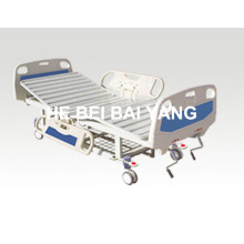 (A-56) -- Movable Double-Function Manual Hospital Bed with ABS Bed Head