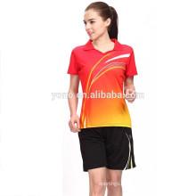 Bádminton seco del diseño y del jersey de calidad superior para los pares, jersey de bádminton de encargo de la moda