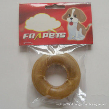 """Dog Food 3"""" Natural Rawhide Pressed Ring Dog Chew"""