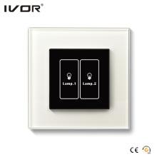 Conmutador de iluminación de 2 pandillas Contorno de cristal con panel táctil (HR1000-GL-L2)