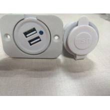 12V 3.1A Dual USB Car Cigarette Lighter Socket Charger Power Adapter Outlet White