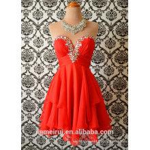 Coral bridesmaid dresses short cocktail dress beaded chiffon prom dresses short