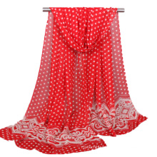 Top seller printed polka dots lace pattern chiffon turkish hijab scarf