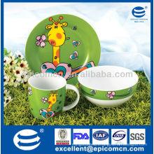 colorful chinaware 3Pcs porcelain breakfast set BC8028 dishes ceramic manufacturer