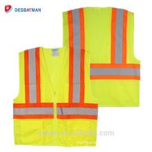 Venta al por mayor de neón amarillo ANSI 100% poliéster malla alta visibilidad chaleco de seguridad de tráfico con cintas reflectantes y cremallera frontal