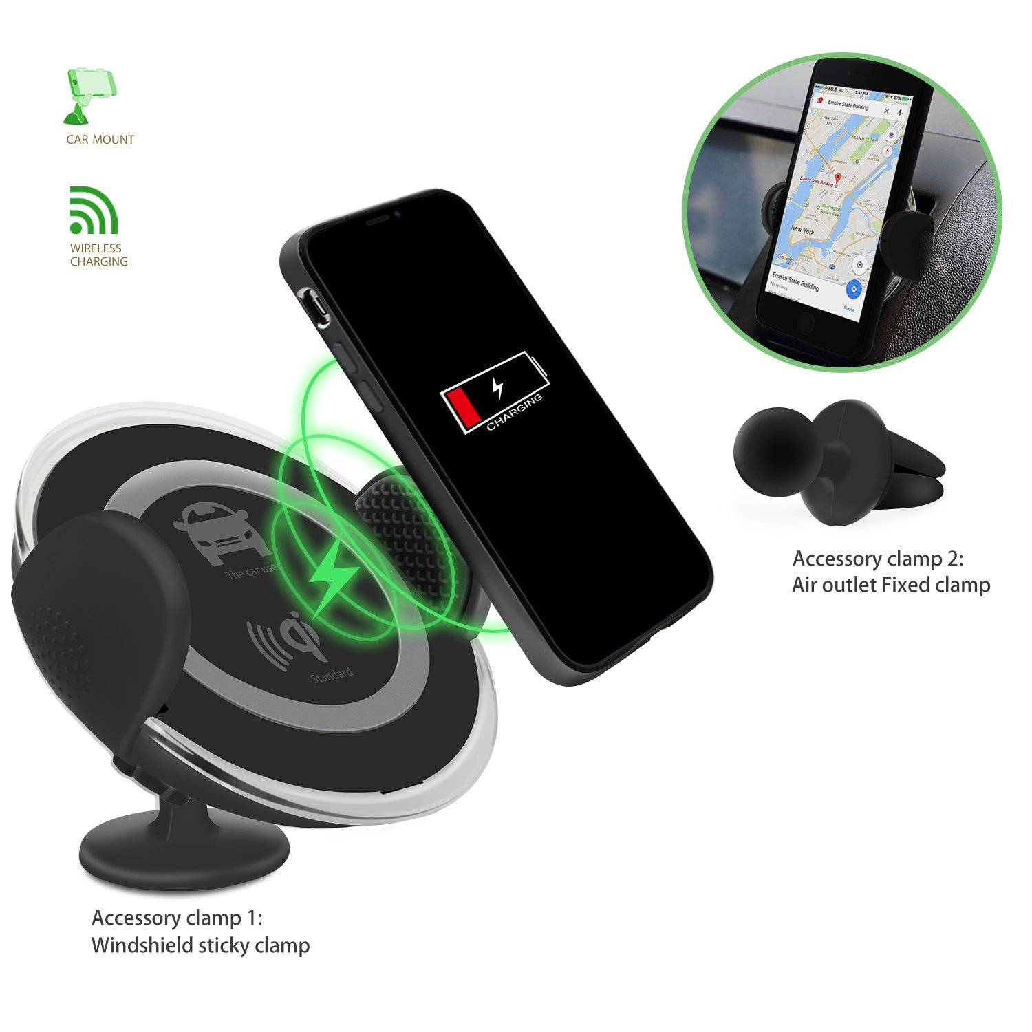 Cars Phone Holder Wireless Quick Charging Mobile Chargers