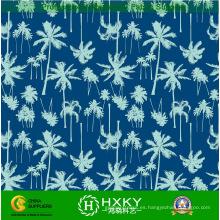 Tela de gasa de la impresión del diseño del árbol de coco Poly para el vestido