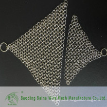 2015 alibaba china supply cast iron pan cleaner stainless steel chain mail scrubber