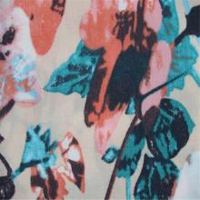 Tela mezclada de rayón de algodón con estampado de flores grandes