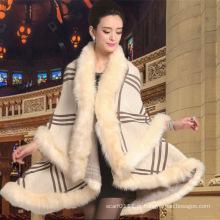 Mulheres moda acrílico de malha faux fur inverno xale quente (yky4469)