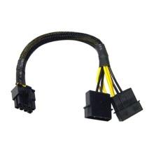 2X 4 pinos Molex macho para cabo adaptador elétrico de 8 pinos