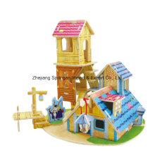 Brinquedo de madeira para brinquedos DIY Casas-Conhecimento House