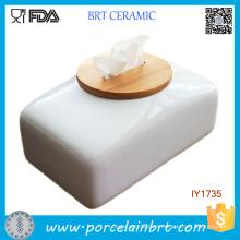 Decoración casera del sostenedor de tejido de cerámica de la caja del tejido de alta calidad